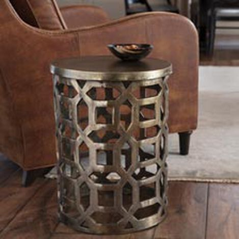 Bennie Pierced Brass Stool ,  , hover_image