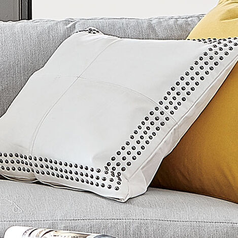 Studded White Leather Pillow Product Tile Hover Image 065707
