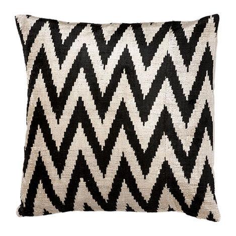 Silk Velvet Pillow, Black/Taupe ,  , large