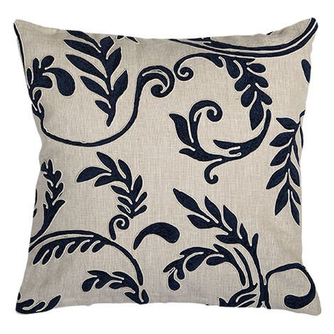 Embroidered Linen Pillow, Navy Product Tile Image 065654