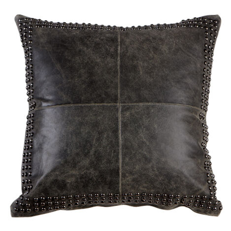 Black Worn Leather Pillow ,  , large