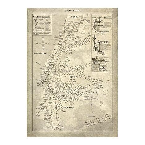 New York Subway Map Vintage Product Tile Image 1124481