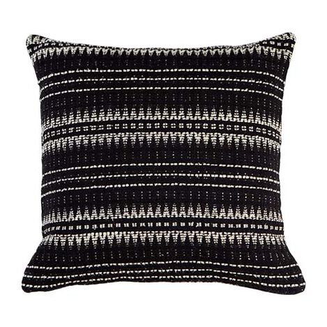 "22"" Black and Ivory Woven Silk Pillow Product Tile Image 065630"