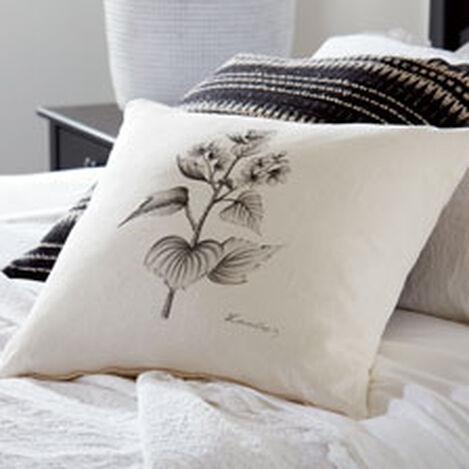 Black and White Botanical Hand-Painted Pillow ,  , hover_image
