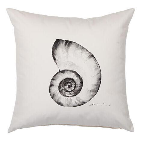 Black and White Nautilus Outdoor Pillow Product Tile Image 404701