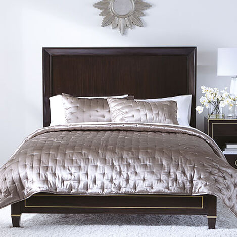 Washed Taupe Silk Coverlet and Shams Product Tile Image WashedTaupeSilk