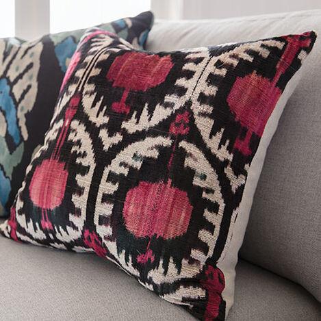 Pomegranate Ikat Silk Velvet Pillow, Pink/Black Product Tile Hover Image 061302