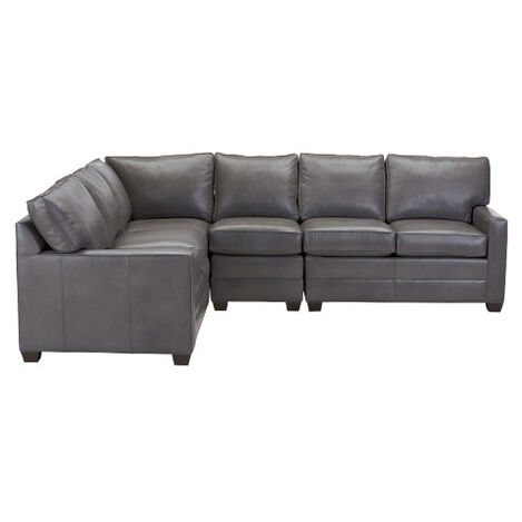 Bennett Track-Arm Leather Four Piece Sectional, Quick Ship ,  , large