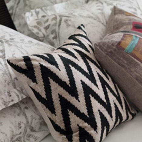 Silk Velvet Pillow, Black/Taupe ,  , hover_image