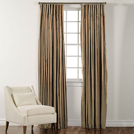 """100"""" Moss Green and Gold Taffeta Stripe Inverted Pleat Panel ,  , large"""