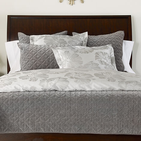 Susana Gray Floral Duvet and Gresham Graphite Coverlet ,  , large