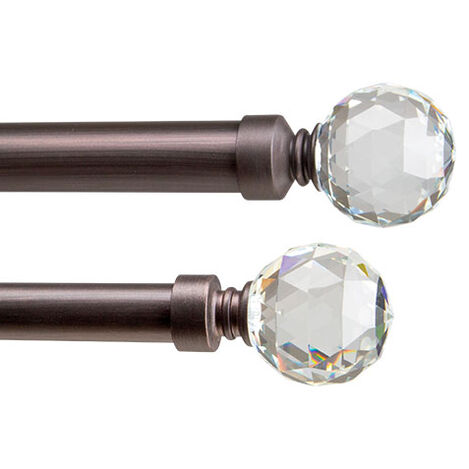 Glass Faceted Ball Finials and Drapery Hardware Set, Oil-Rubbed Bronze Product Tile Image GlassCrystalBallOilRubbedBronze