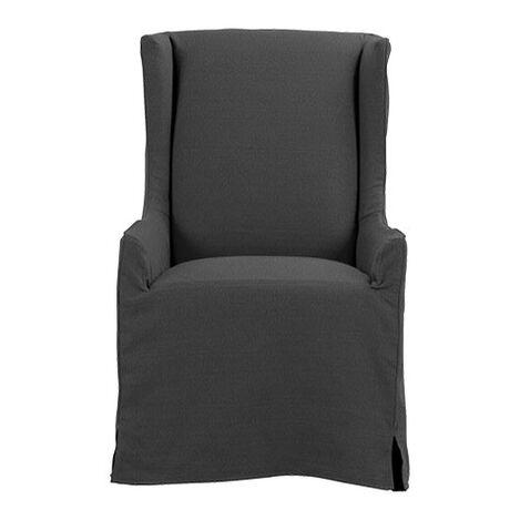 Larkin Slipcovered Host Chair, Portia Graphite ,  , large
