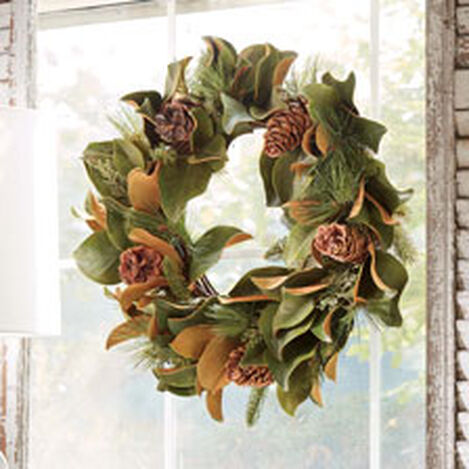 "24"" Magnolia Leaf and Evergreen Wreath Product Tile Hover Image 442236"