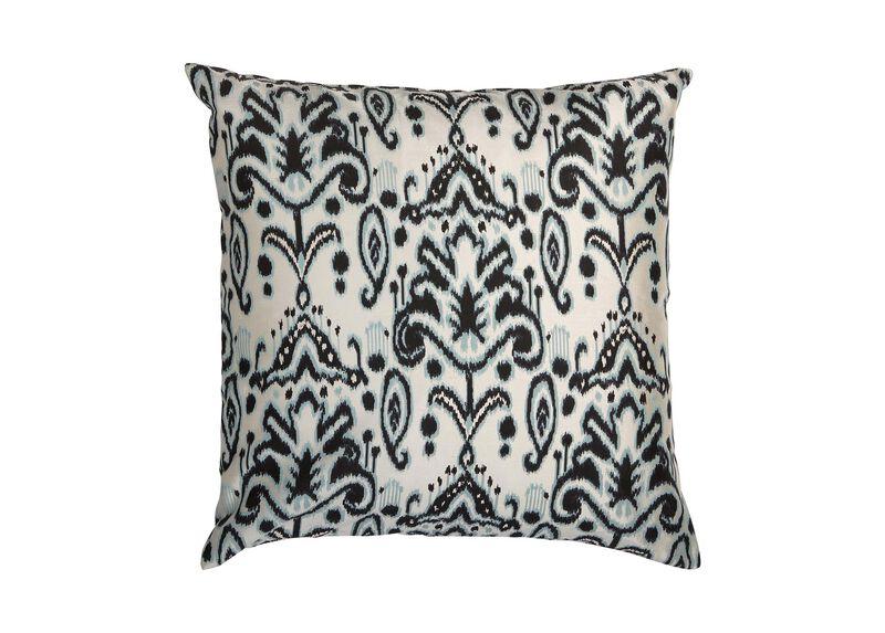 Silk Ikat Pillow, Blue/Black