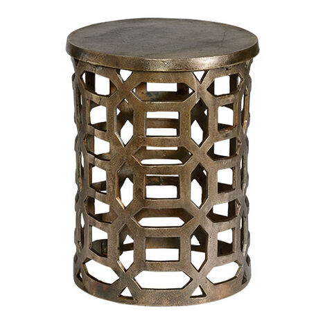 Bennie Pierced Brass Stool ,  , large