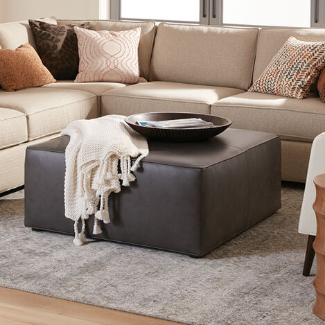 Bryne Leather Square Ottoman Product Tile Hover Image 721010
