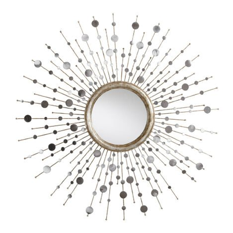 Silver Toned Soleil Mirror ,  , large