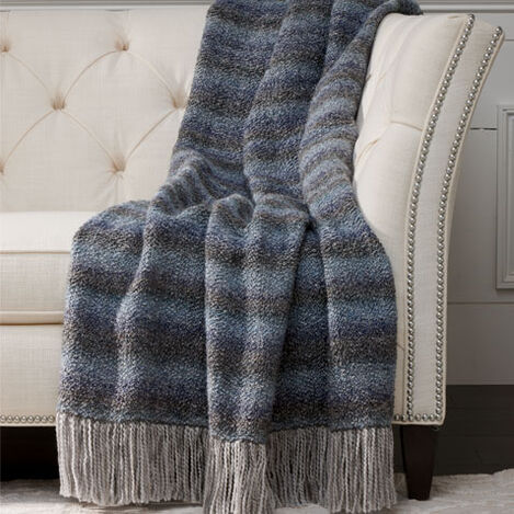 Chevron Knit Throw, Denim Blue ,  , large