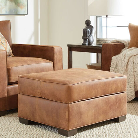 Spencer Leather Ottoman Product Tile Hover Image 722360