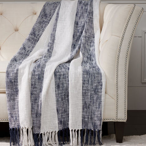 Navy Striped Throw ,  , large