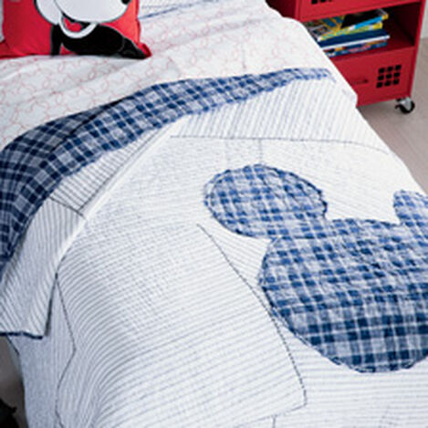 Ticking Stripe Mickey Quilt and Sham ,  , hover_image