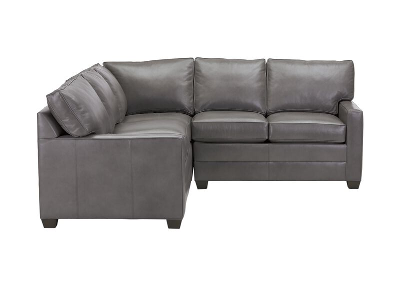 Bennett Track-Arm Leather Three-Piece Sectional, Quick Ship