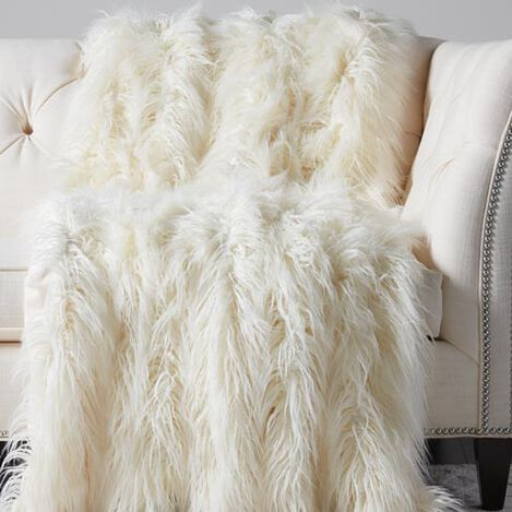Faux Fur Throw, Ivory Product Tile Image 031857