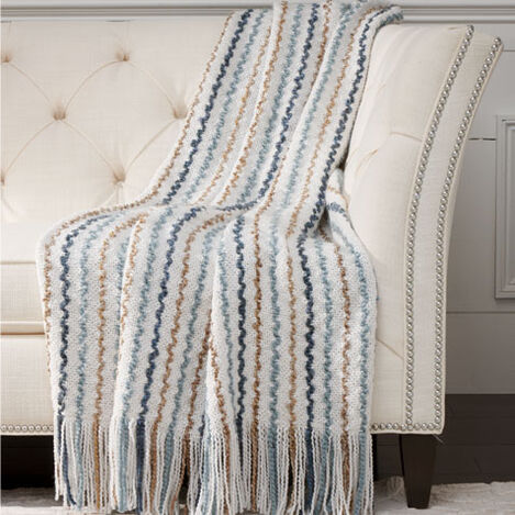 Squiggle Knit Throw, Ivory ,  , large