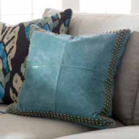 Teal Worn Leather Pillow ,  , hover_image