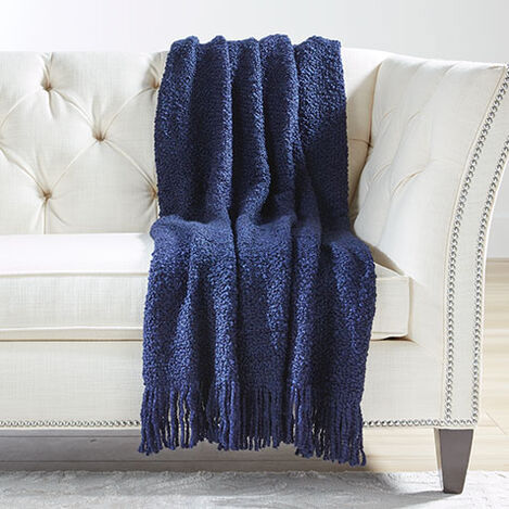 Campbell Knit Throw, Midnight Blue Product Tile Image 031744   NVY
