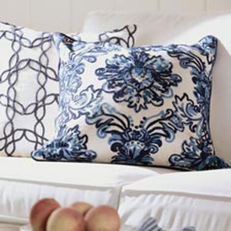 Crewel Embroidered Medallion Pillow, Blue ,  , hover_image
