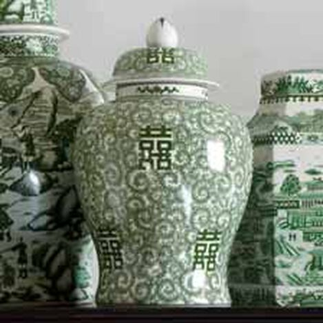 "18"" Green and White Temple Jar ,  , hover_image"