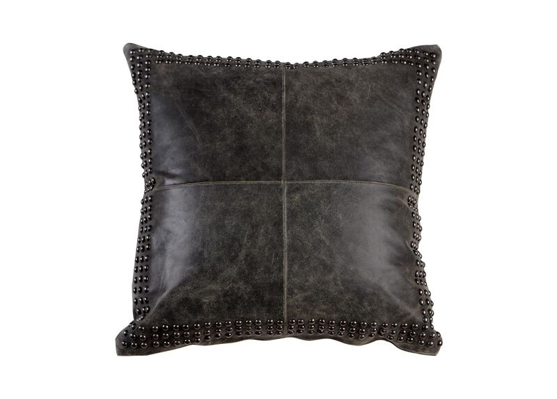 Black Worn Leather Pillow
