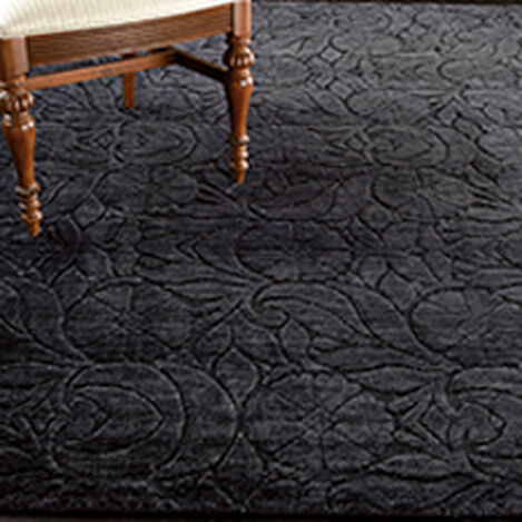 Floral Jacquard Rug, Black ,  , hover_image