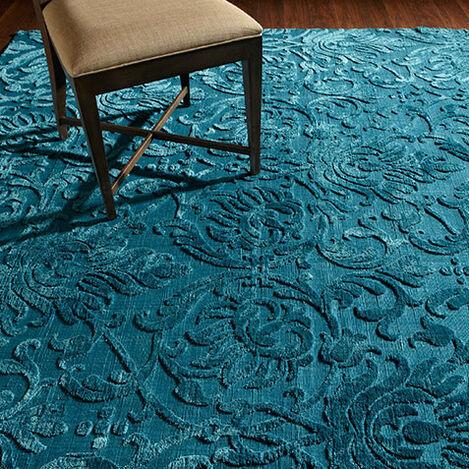 Jacquard Damask Rug, Turquoise Product Tile Hover Image 041248