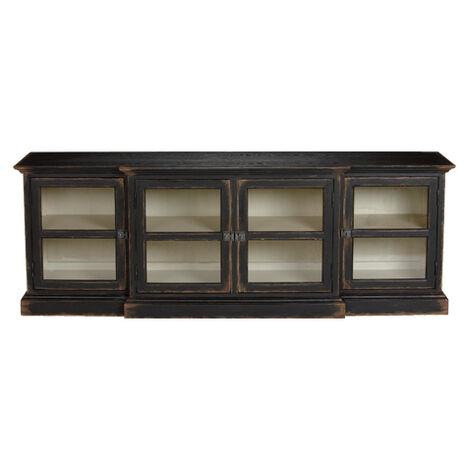 Farragut Media Cabinet, Rustic Black with White Interior ,  , large