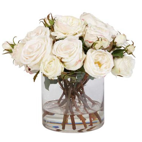 Mixed White Roses in Glass ,  , large