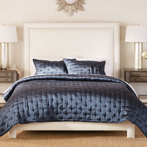 Washed Navy Silk Coverlet and Shams Product Tile Image WashedNavySilk