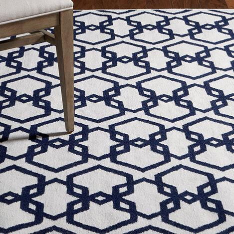 Interlock Rug, Ivory/Blue ,  , hover_image