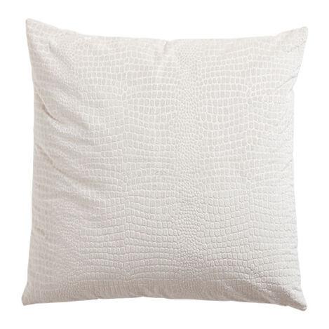 Embossed Velvet Pillow, Ivory ,  , large