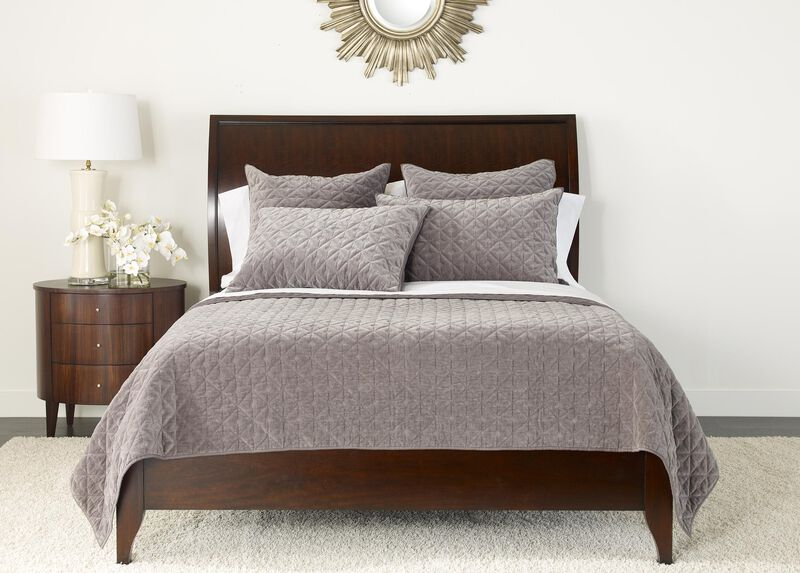 Gresham Graphite Velvet Coverlet and Shams ,  , large_gray