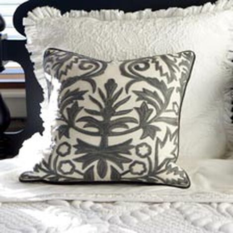 Crewel Embroidered Fern Trellis Pillow ,  , hover_image