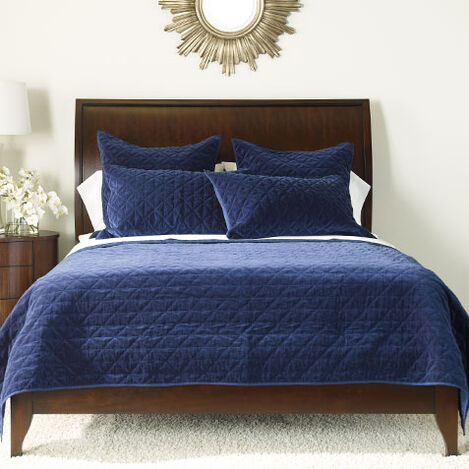 Gresham Navy Velvet Coverlet and Shams Product Tile Image greshamnavy