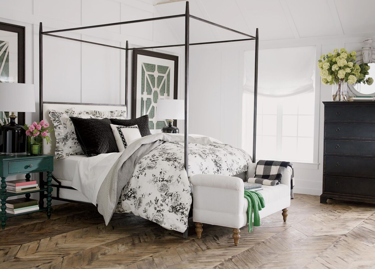 lincoln upholstered poster bed  beds  ethan allen