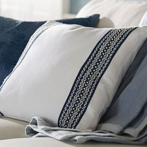 White and Navy Taped Pillow Product Tile Hover Image 065669   WHT