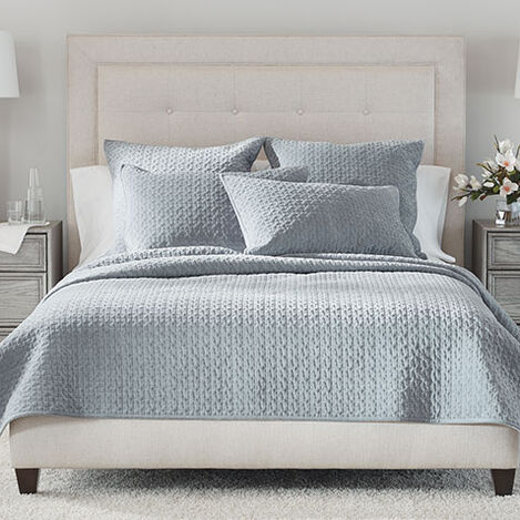 Salena Velvet Coverlet and Sham, Mist Product Tile Image SalenaVelvetMist