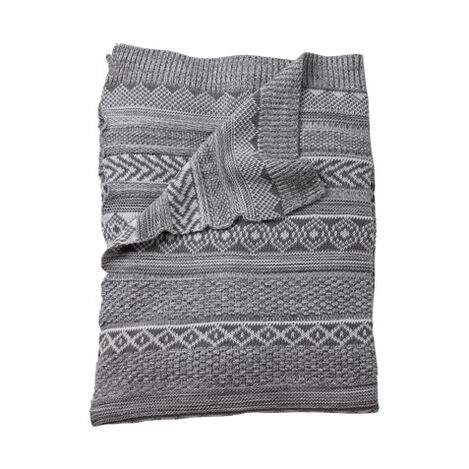 Sweater Stitch Knit Stroller Blanket, Mouse Grey ,  , large