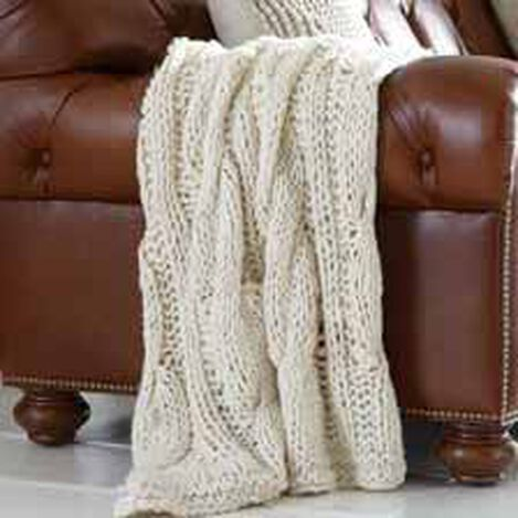 Ivory Chunky Knit Throw ,  , hover_image