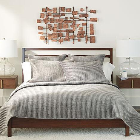 Velvet Gray Quilt and Shams Product Tile Image VelvetQuiltGray